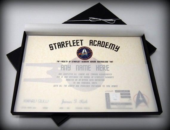 Certificado de la academia de la flota estelar de lujo star