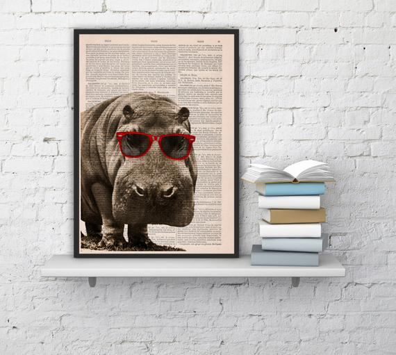Christmas gift cool hippo with sunglasses, wall art, wall