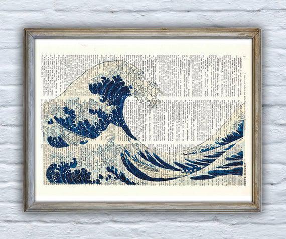 Christmas gift hokusai's japanese great wave printed on