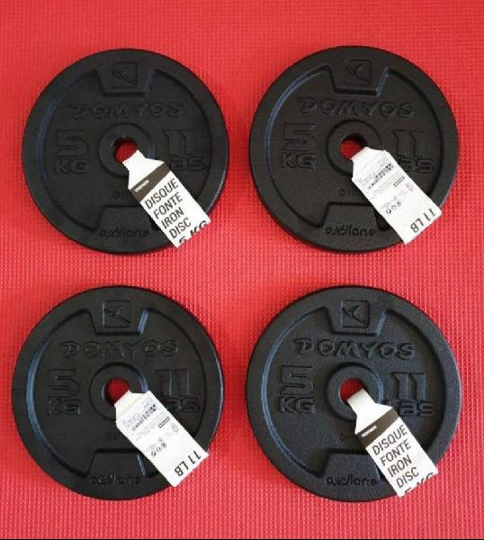 4 discos de 5kg pesas (envío gratis *)