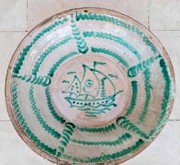 De coleccion,inusual lebrillo de ceramica de fajalauza con