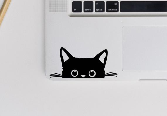2x peeking cat vinyl decal - original from 2018 cat sticker
