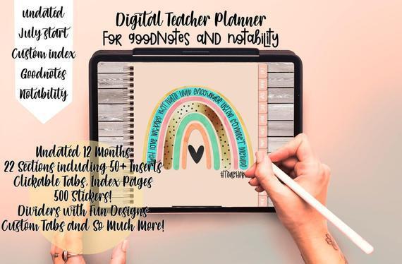 Digital teacher planner, goodnotes teacher planner, teacher
