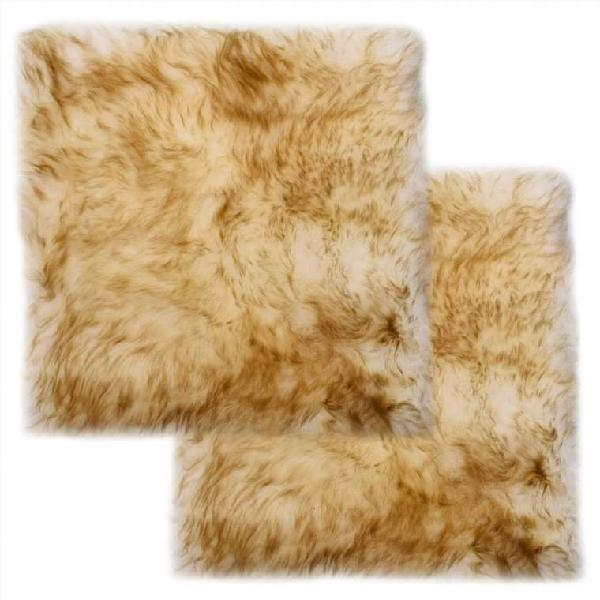 Cojines de sillas 2 uds piel oveja real marrón mez
