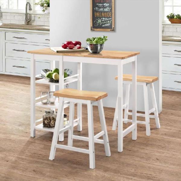 Conjunto de mesa alta de cocina 3 piezas mdf blanc