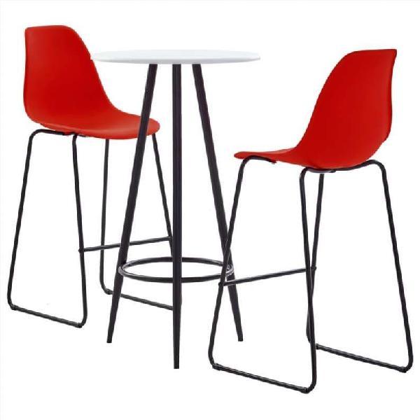 Juego de mesa alta y taburetes 3 piezas plástico r