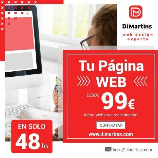 Páginas web de desde solo 99€ y disponible en 48hs