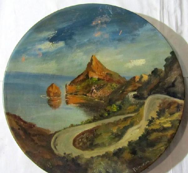 Plato de cerámica pintado al óleo, península o cabo de