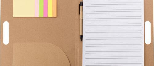 Portadocumentos a4 de cartón con asa y bolígrafo