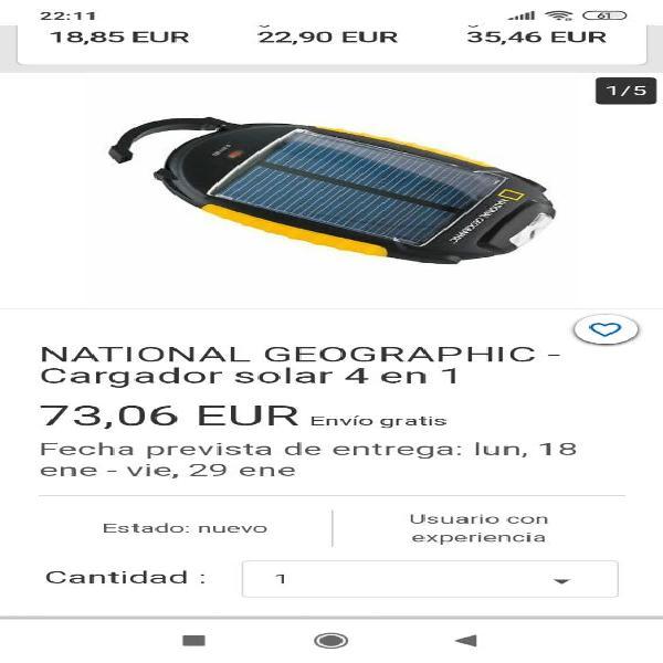 Cargador solar y linterna national geografic.