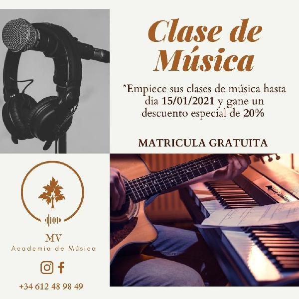 Clase de instrumentos musicales en promocion