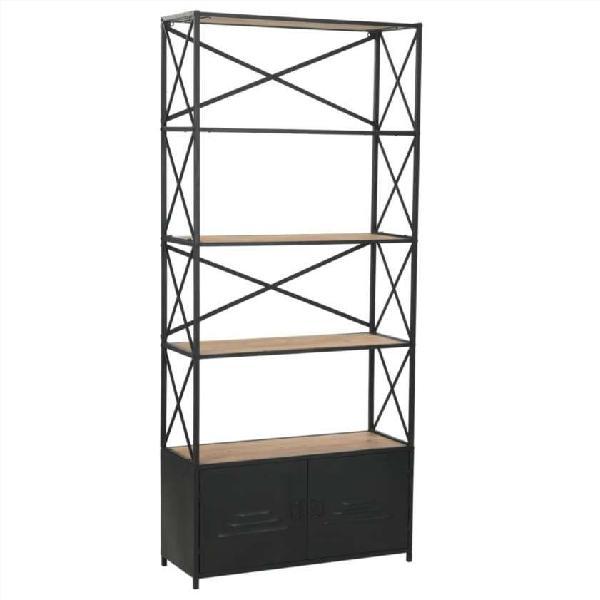 Estantería de madera maciza y acero 80x32,5x180 cm