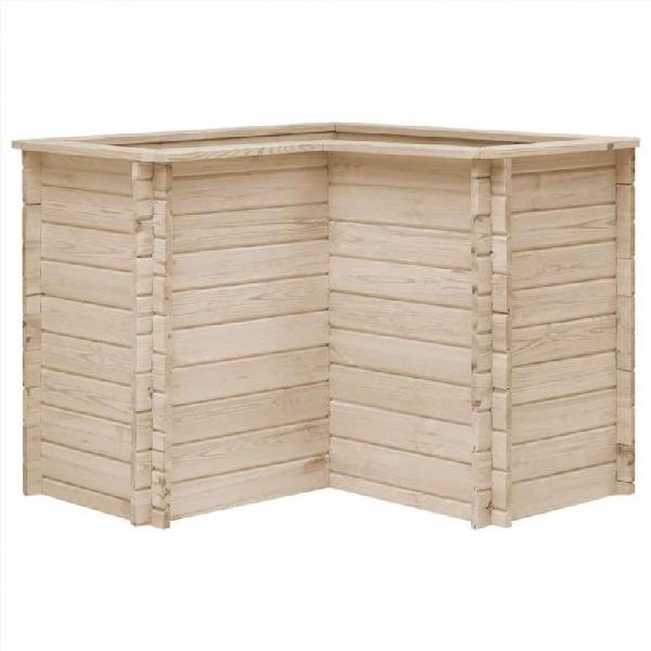 Jardinera de madera maciza de pino 100x100x80 cm