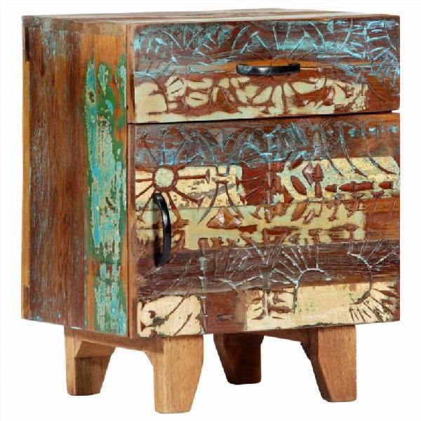 Mesita de noche tallada a mano madera reciclada 40