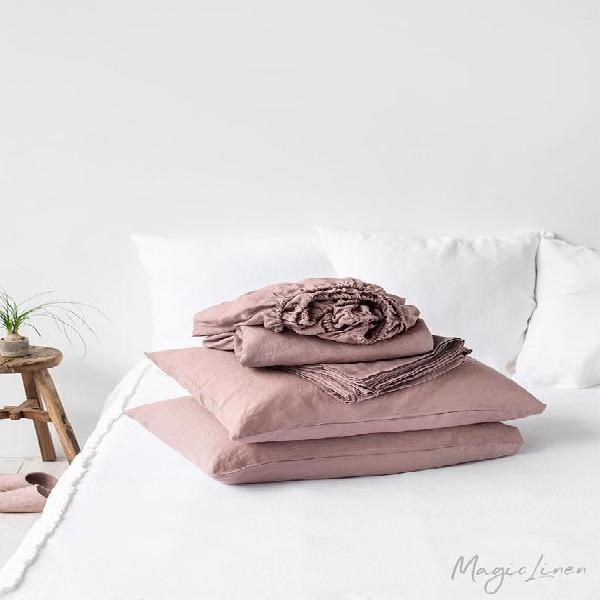 Linen sheet set in woodrose (dusty pink). fitted sheet, flat