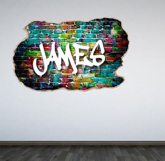 Personalizado graffiti pared calcomanía aplastada pared 3d