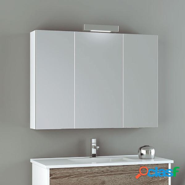 Camerino 3 puertas con espejo 100 cm. blanco brillo
