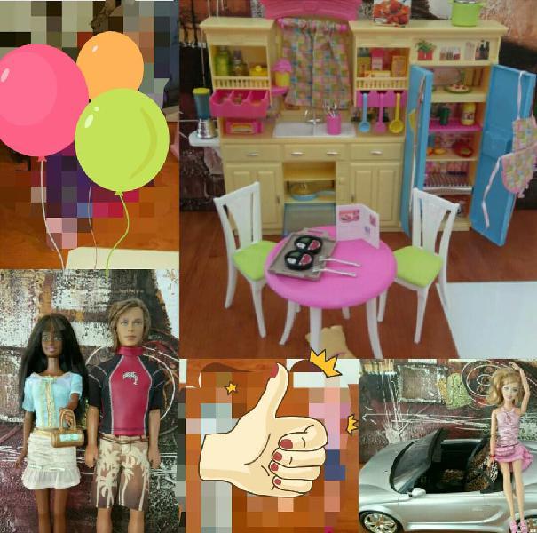 Pack cocina y coche barbie mattel + regalos