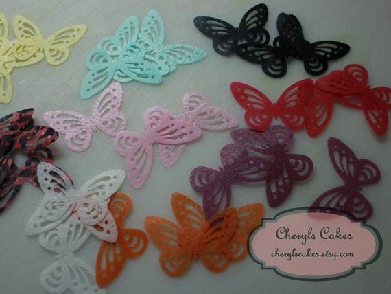 12 toppers grandes de la torta de mariposa, diversos colores