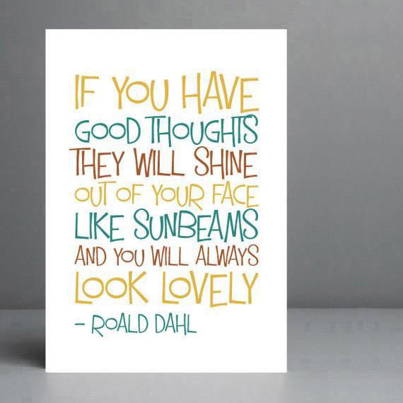 Cita de roald dahl - the twits. impresión tipográfica.