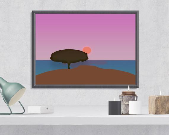 Digital wall art sunset   zon zee en strand, bewerkbaar,