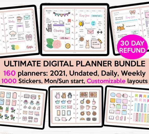 Digital planner 2021 digital planner undated digital planner