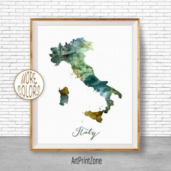 Italia mapa arte italia imprimir acuarela mapa mapa mapa