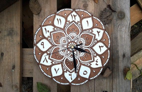 Mandala reloj (9.45 pulgadas y 16 pulgadas) - estilo árabe