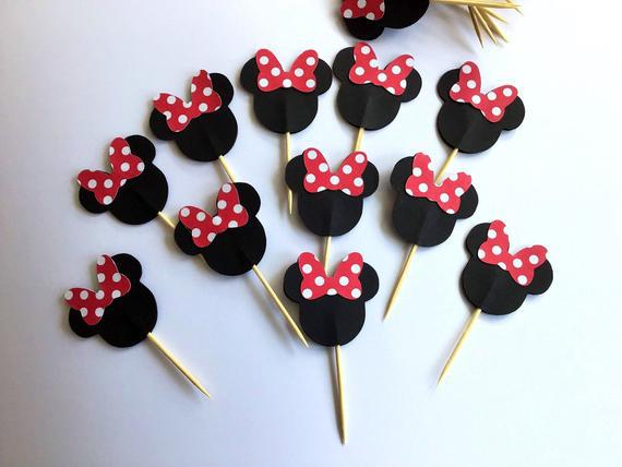 Minnie mouse - mickey mouse cupcake toppers - cupcake picks