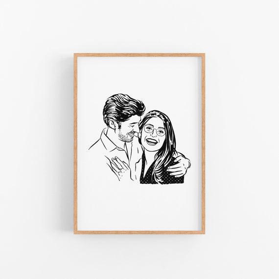 Personalizado pareja retrato día de san valentín dibujo