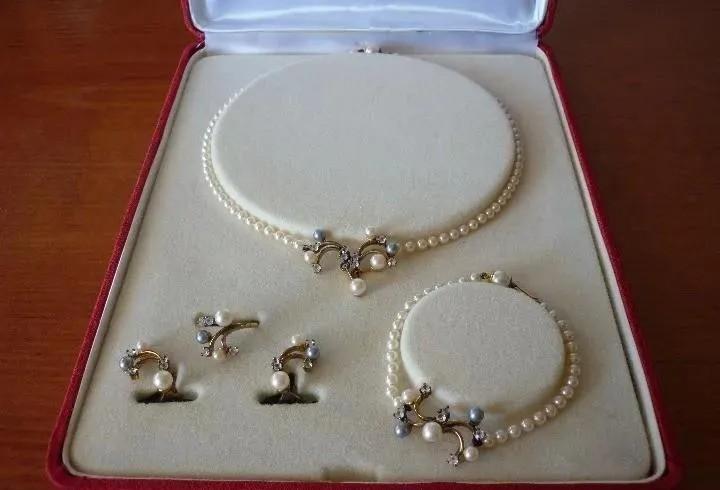 Perlas majorica. conjunto de 5 piezas