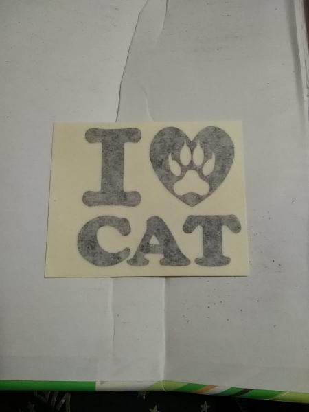 Pegatina i love cat
