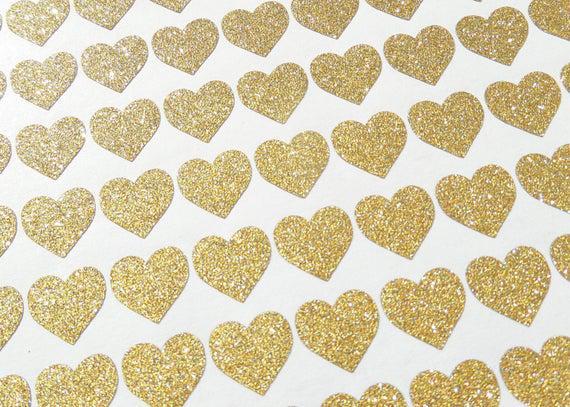 180 tiny glitter heart stickers, wedding invitation