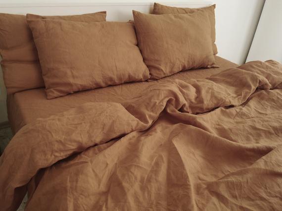 Clay linen pillowcase / 1 pillowcase / brown pillow cover /