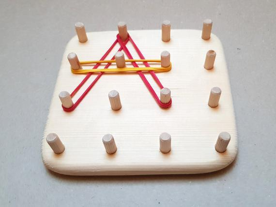 Juguete waldorf, tablero peg, geoboard de madera, juguete