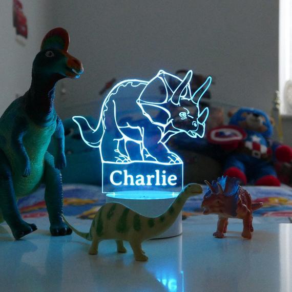 Luz nocturna de dinosaurio personalizada, impresión de