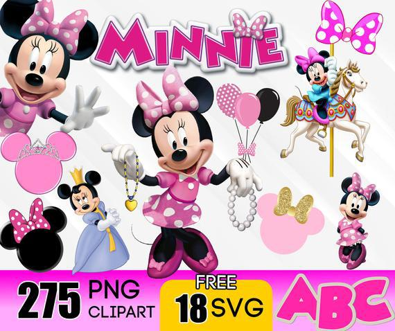 Minnie mouse clipart svg digital download, png and free svg
