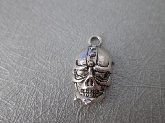 Encantos de cráneo 2, metal calavera plata 25 x 14 mm