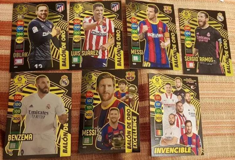 6 balones de oro + card invencible, adrenalyn 2021