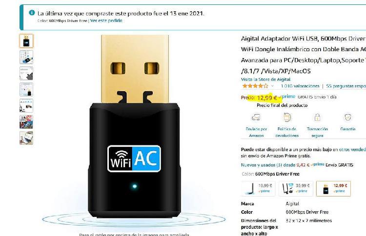 Adaptador wifi usb, 600mbps driver free, doble ac