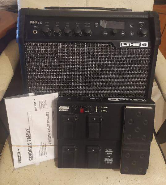 Amplificador line 6 spider v 30 con pedalera fbv
