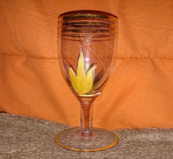 Antigua copa de cristal, borde oro, pintada, ver fotos