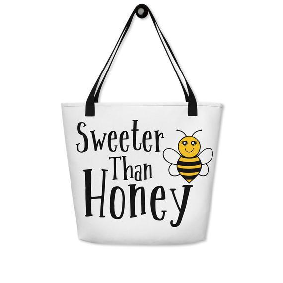 Beach bag sweeter than honey valentine's day bee bag
