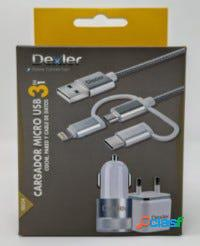 Cargador micro usb tipo c 3 en 1 dexler