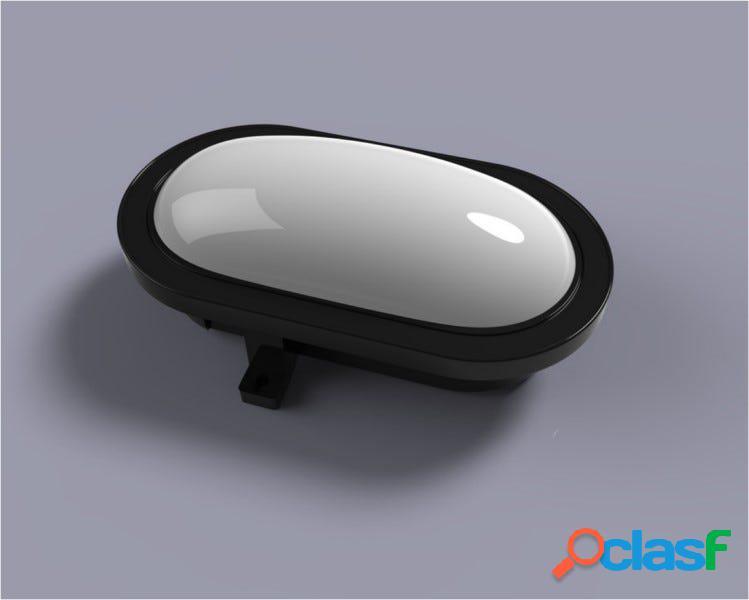 Aplique iluminacion negro policarbonato fenoplastica exterior oval estanco e 8325 n led