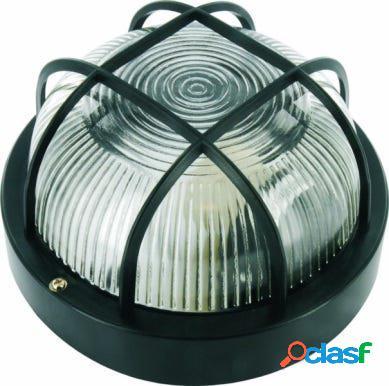 Aplique iluminacion negro smartwares exterior redondo rejilla plastico 10.021.56