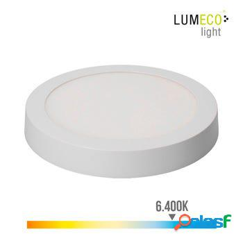 Foco iluminacion downlight redondo superficie led 20w 1500lm 6400k ø22,5x4cm aluminio/plastico blanco edm