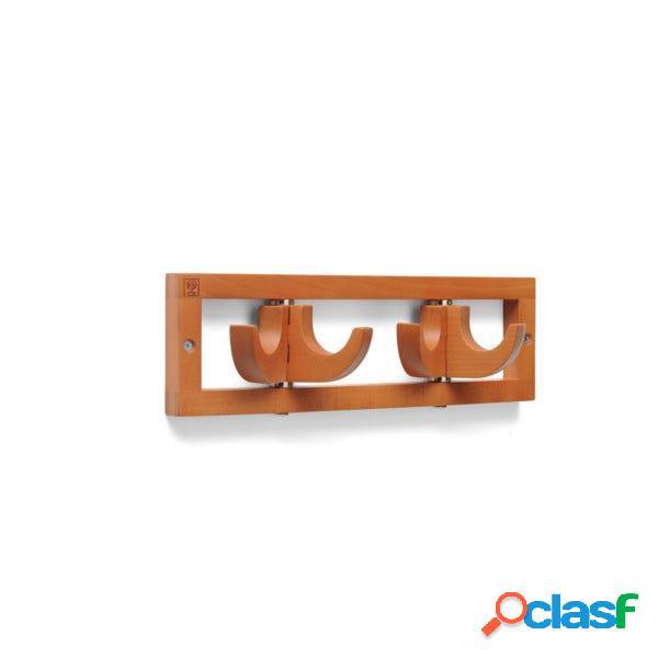 Perchero pared plegable 4 ganchos 11x7x37cm madera/metal nogal flat 2 foppapedre