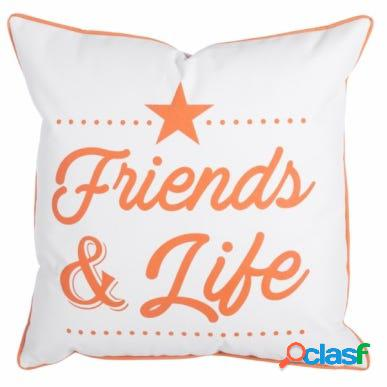 Cojin decorativo exterior 45x45x12cm naranja blanco friends&life ldk garden 82724