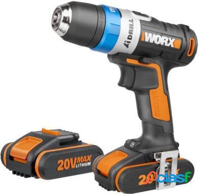 Taladro atornillador 20v li 2,0ah 2 baterias maletin aidrill worx 120293